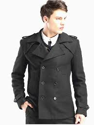 double ted black fashion wool pea coat for men
