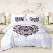 cute koala print bedding set colorful geometric duvet cover white purple bed cover king queen pillowcase bed set d40 green bedding purple bedding sets from
