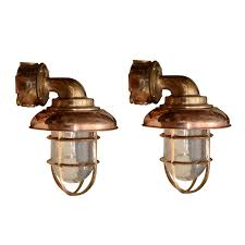 set eight copper brass nautical outdoor lighting