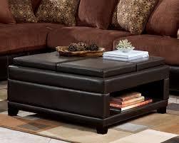 Square Leather Ottoman Coffee Table Shelf Good Ideas