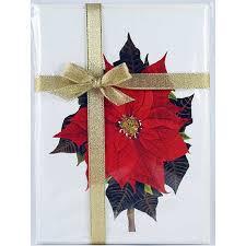 poinsettia fl notecard 4 card gift pack