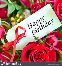 red roses for a happy birthday royalty free stock picture