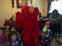elmo mascot at birthday party costumed characters for parties in san antonio