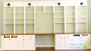 Pictures Of Built In Bookcases Remodelaholic Build A Wall To Wall Built In Desk And Bookcase