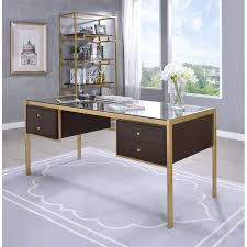 Glass top writing desk Table Acme Yumia Glass Top Writing Desk In Clear Glass And Gold Cymax Acme Yumia Glass Top Writing Desk In Clear Glass And Gold 92785