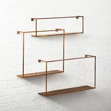 antiqued brass floating shelves set of 3
