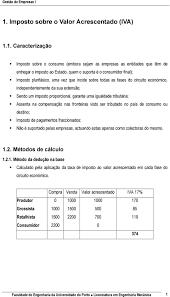 1. Imposto sobre o Valor Acrescentado (IVA) - PDF Free Download