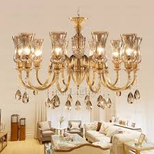 10 light glass shade brass and crystal chandelier crystal shade chandelier