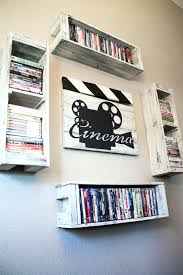 dvd wall shelves cinema clapperboard decor from reclaimed wood with four storage shelves on dvd wall