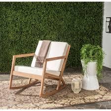 vernon teak brown outdoor patio rocking chair with beige cushion