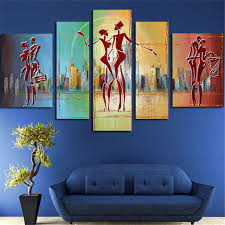 5plane large huge size wall modern painting poster city and las dance canvas art pictures artwork