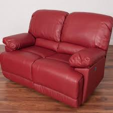 corliving lea red bonded leather power reclining loveseat with usb port