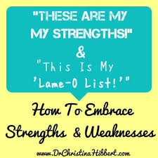 Strengths Weaknesses How To Embrace Strengths Weaknesses Dr Christina Hibbert