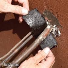 replace rotting insulation on outside a c lines