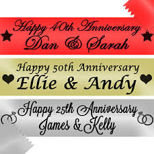 happy anniversary banners personalised anniversary banners golden silver ruby 50th 25th 40th