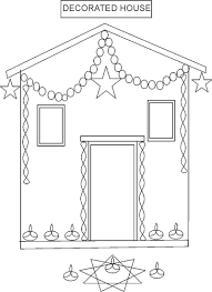 Print these diwali coloring pages to gift your kids. Decorated House Coloring Page