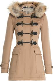 burberry brit wool duffle coat with fur