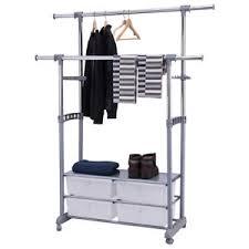 Rolling Coat Rack With Shelf Adjustable Garment Rack Telescopic Rolling Clothes Hanger Storage 61