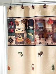 outdoors camping trip cabin theme shower curtain