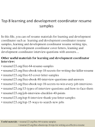 Learning And Development Coordinator Cover Letter