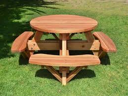 decorating glamorous round picnic table plans 11 with seat backs glamorous round picnic table plans