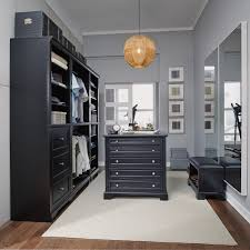 classic black 5 piece closet organizer with 36 inch storage island bedford rc willey furniture