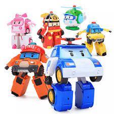 HCM]Bộ 6 xe biến hình Robocar Poli phim hoạt hình Poli và những người bạn