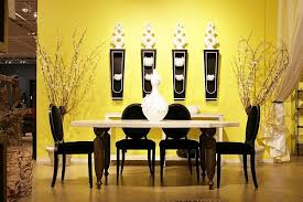 dining room wall decor with mirror. Dining Room Wall Decor With Yellow Paint And Pottery Art Mirror
