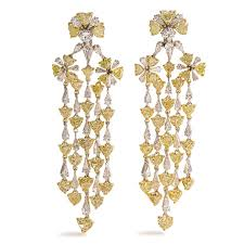 18ktt yellow diamond and diamond chandelier earrings tdw 38 16ct 56 heart
