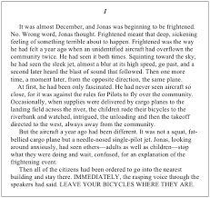 the giver excerpt to make a prairie related