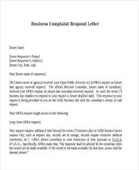 Complain Business Letter 4 Sample Of Response Letter To Complaint Templates