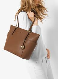womens totes michael michael kors jet set large top zip saffiano leather tote luggage don terrario
