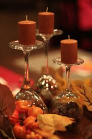 thanksgiving table decorations made with dollar tree and walmart finds wine gles turned upside down and tea lights on top idea credit goes to jedlicka