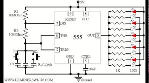 beautiful running led animated demo circuit designed using 555 in led circuit diagram for decoration purpose at Led Circuit Diagrams