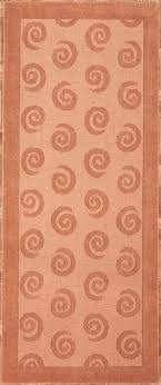 handmade rectangular swirl runner area rug in brown 2x6 double tap to zoom