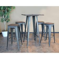 gray wood dining table. Loft Style Rustic Gunmetal Bar Table Gray Wood Dining