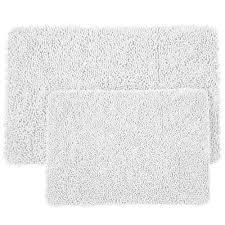 white 21 in x 32 in memory foam 2 piece bath mat