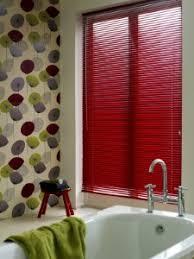colored mini blinds. Getting Bold With Mini Blinds! #red #mini #blinds Perfect For A Pop Of Color In Bathroom Colored Blinds E
