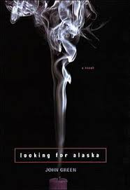 against a stark grey background, a large plume of smoke rises from an  extinguished candle. Looking for Alaska ...
