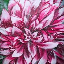 blooming dahlia paintings fine art modernism photorealism realism botanical