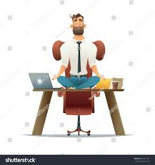 meditation office. Cartoon Style Man Meditation In Office. Yoga At Job. Young Relaxing Lotus Office