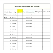Film Production Calendar Template Film Production Calendar Template Sample Shooting Schedule 9