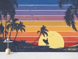 retro surfer sunset wall mural