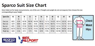 Omp Kart Suit Size Chart Veritable Sparco Suit Sizing Chart 2019