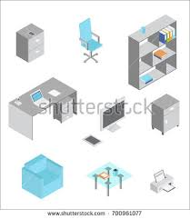 isometric office furniture vector collection. Furniture Isometric Icons. Vector Elements Of Office Interior Collection