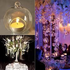 Hanging Glass Tea Light Spheres Warmiehomy 6pcs Hanging Glass Bauble Tea Light Holder 8cm