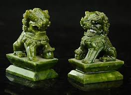 <b>Rare</b> A pair of <b>100</b>% <b>China natural</b> green jade hand-carved statues ...