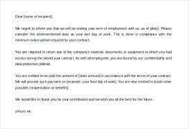 Employment Termination Letter Templates Termination Of Contract Letter Template Download Employee Contract