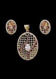 fashion jewellery designer american diamond and red stone pendant set indian silk