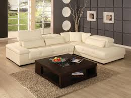 Ivory Living Room Furniture Or Brown Leather Sectional Sofa W Lift Up Headrests